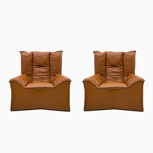 Mid-Century Modern Leather Chairs by Cinova, 1964, Set of 2