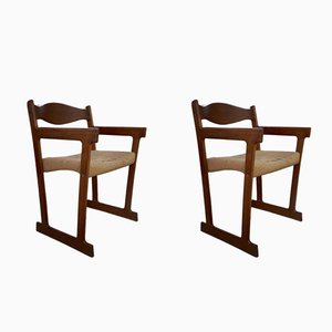 Mid-Century Danish Teak Frame & Papercord Seat Dining Chairs, Set of 2
