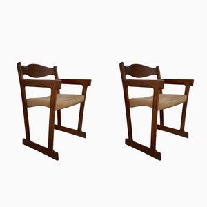Sillas de comedor danesas Mid-Century con estructura de teca y asiento de hilo de sisal. Juego de 2