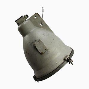 Großer industrieller Vintage Scheinwerfer aus Aluminiumguss & Klarglas