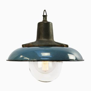 Lampada vintage industriale in ghisa e smaltata blu