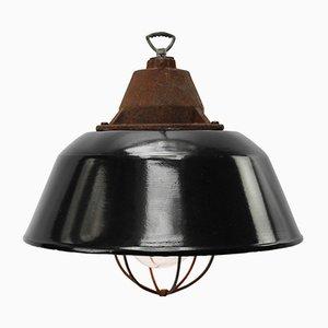 Schwarz emaillierte industrielle Vintage Hängelampe aus Gusseisen