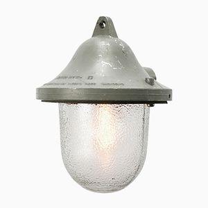 Lampada vintage industriale in alluminio grigio pressofuso e vetro