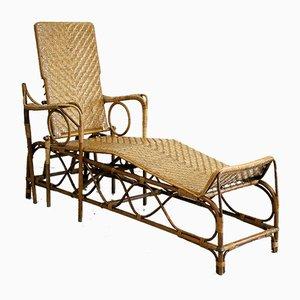 Chaise Longue de Jardin Vintage en Osier de E. Alloggi, Italie