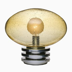 Vintage Glass Table Lamp in Amber from Doria Leuchten, 1970s