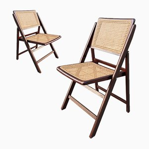Vintage Folding Wood & Wicker Chairs, 1960s, Set of 2