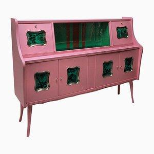 Mueble bar italiano Mid-Century con paneles de imitación de malaquita, años 50