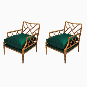 Mid-Century Faux Bamboo Cockpen Armchairs, Set of 2