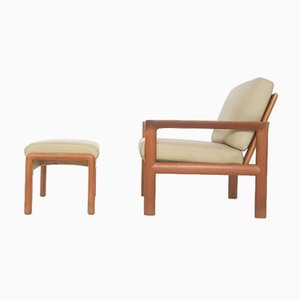 Danish Leather & Teak Lounge Chair & Ottoman by Sven Ellekaer for Komfort, 1960s