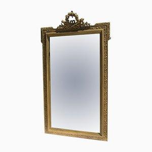 Großer Spiegel aus Holz & vergoldetem Stuck aus 19. Jhdt