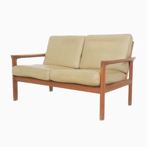 Sofá de dos plazas danés de cuero de Sven Ellekaer para Komfort, años 60