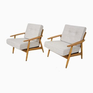 German Oak Lounge Chairs from Knoll Antimott, 1960s, Set of 2