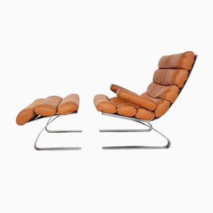 German Sinus Leather Lounge Chair & Ottoman by R. Adolf and H.J. Schräpfer for Cor, 1970s