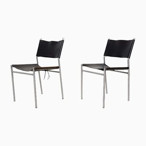 Dutch SE06 Black Leather Dining Chairs by Martin Visser for 't Spectrum, 1967, Set of 2