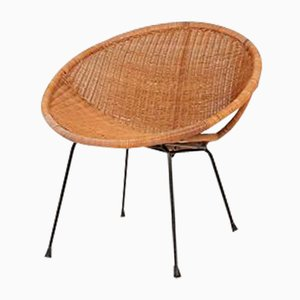 Vintage Dutch Metal & Rattan Armchair, 1960s
