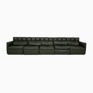 Großes deutsches modulares Sofa-Set aus dunkelgrünem Leder, 1960er