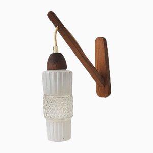 Mid-Century Wandlampe aus Teak & Glas