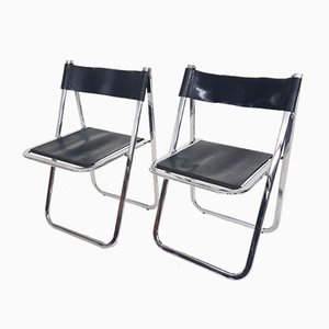 Italian Chrome & Leather Tamara Folding Chairs from Arrben, 1970s, Set of 2
