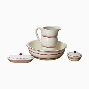 Art Deco Pitcher, Bowl & Accessories Set