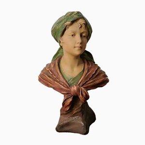 Figurine Femme Art Nouveau en Terre Cuite par F. Citti