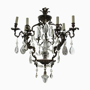 Rococo French Bronze & Cut Glass Chandelier, 1880s