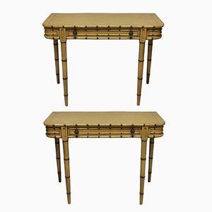 Consoles Peintes en Faux Bambou, 1960s, Set de 2
