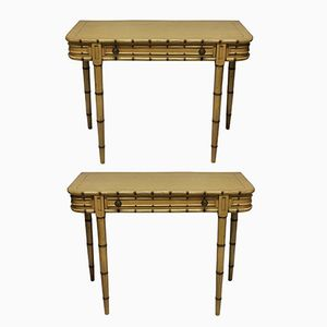 Faux Bamboo Painted Consoles, 1960s, Set of 2