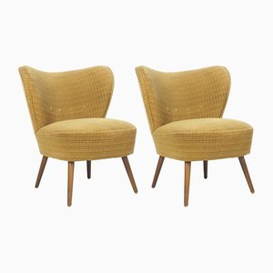 Fauteuils Cocktail Jaunes Ocre, 1950s, Set de 2