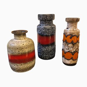 German Lava Ceramic Vases, 1960s, Set of 3