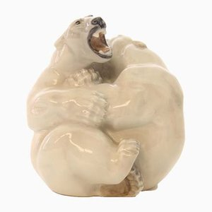 Figura de oso polar danesa vintage de Knud Kyhn para Royal Copenhagen