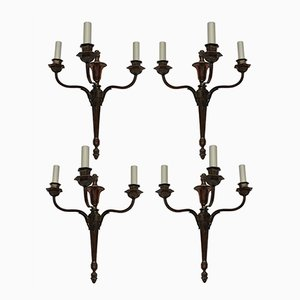 Vintage Neo-Classical Bronzed Three Branch Sconces, Set of 4