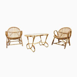 Mid-Century Rattan Living Room Set by Dirk van Sliedregt for Rohé Noordwolde, 1960s