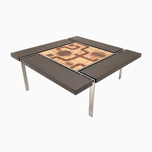 Ceramic Tiles & Steel Coffee Table by Svend Aage Jessen & Sejer Pottery for Ryesberg, 1970s
