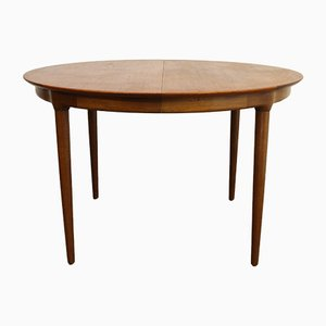 Round Vintage Danish Teak Extendable Dining Table from Slagelse Møbelværk
