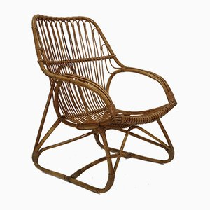Französischer Armlehnstuhl aus Bambus-Optik, 1960er