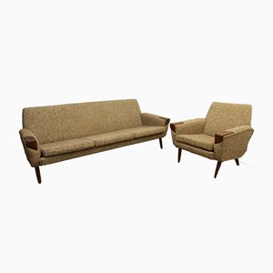 Vintage Danish Sofa and Chair Set, 1960s
