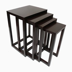 Blackened Wood Nesting Tables by Joseph Hoffmann for Wittmann, 1990s