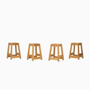 Pine Bar Stools, 1970s, Set of 4