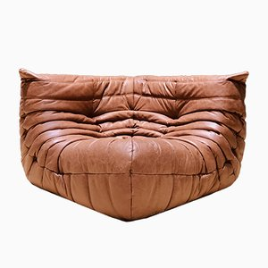 Mid-Century Leather Togo Corner Sofa by Michel Ducaroy for Ligne Roset, 1970s