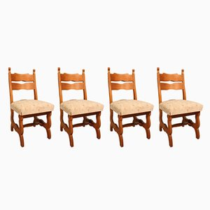 European Rustic Dining Chairs, 1950s, Set of 4