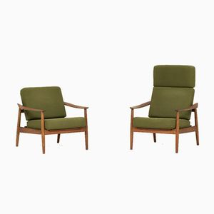 FD164 Reclining Easy Chairs by Arne Vodder for France & Son, 1960s, Set of 2