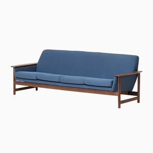 Dutch Solid Teak 4-Seater Sofa with Blue Upholstery, 1960s