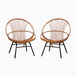 Vintage Rattan & Black Metal Armchairs, Set of 2