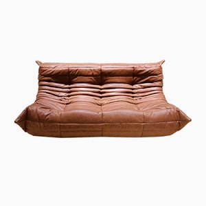 Mid-Century Cognac Leather Togo Sofa by Michel Ducaroy for Ligne Roset, 1970s