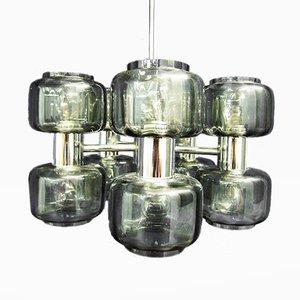 Lámpara de araña era espacial vintage de metal cromado y cristal ahumado