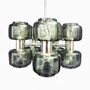 Vintage Space Age Chrome & Smoked Glass Chandelier