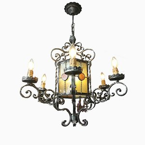 Antique Style Wrought Iron Chandelier, 1970s
