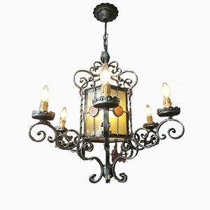 Lámpara de araña estilo antiguo de hierro forjado, años 70