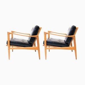 Vintage Kandidaten Sessel mit Gestell aus Eiche von Ib Kofod-Larsen für Ope Möbler, 2er Set