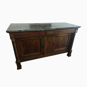Antique Empire Walnut & Marble Buffet